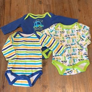 Baby Gear 0-3 Months 3 Long Sleeve Bodysuits